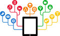 Tablet & Social Media icons, communication in the global computer networks Royalty Free Stock Photo