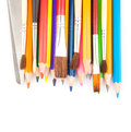 Drawing tools for pencils pens brushes on white Royalty Free Stock Photography