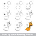Drawing tutorial. How to draw a Giraffe Royalty Free Stock Photo