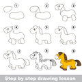 Drawing tutorial. How to draw a Horse Royalty Free Stock Photo