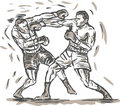 Drawing of two boxers punching Royalty Free Stock Photography