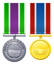 A drawing of two military style chest medals or decorations Royalty Free Stock Image