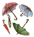 Drawing, watercolor set of umbrellas. Umbrellas from a rain, fem