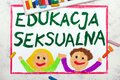 Drawing: Words Sex Education in Polish lanquage. Happy young students studing about sexual health Royalty Free Stock Photo