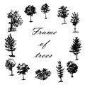 Drawing wreath frame made of trees, hand drawn illustration