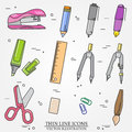 Drawing and writing tools icon thin line for web and mobile, mod Royalty Free Stock Photo