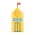 drawing yellow school building flag clock Royalty Free Stock Photo