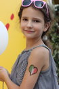 Drawings on the body of child theme i love italy soft focus Stock Image