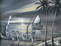 Drawings of life of the african people black and white drawing ethnic in africa mozambique landscape nature river sail in boat Stock Image