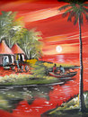 Drawings of life of the african people ethnic in africa mozambique landscape nature houses in background river sail in boat Royalty Free Stock Images