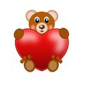 Drawn bear and red bright heart on a white background Stock Image