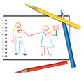 Drawn by a child in the album a couple in love are people who are holding hands this is they are happy Royalty Free Stock Image
