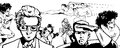 Drawn crowd banner comic book style line art with crowded peoples some heroes and others Stock Photos