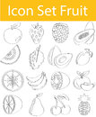 Drawn Doodle Lined Icon Set Fruit