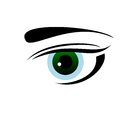 Drawn eye of green color Royalty Free Stock Photo