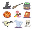 Drawn halloween icons set of Royalty Free Stock Photography