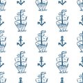 Drawn by hand anchor and sailing ship rear view. Stylish sea seamless pattern. Sketch, grunge, doodle.