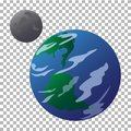Drawn planet Earth and moon isolated on a transparent background. Royalty Free Stock Photo