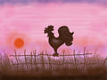 Drawn rooster with sunset or sunrise Royalty Free Stock Photo