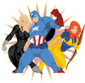 Drawn three superhero two women man Royalty Free Stock Photos