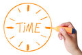Drawn Time Clock by Marker Royalty Free Stock Photo