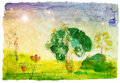 Drawn watercolor landscape Stock Image