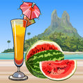 Drawn wine glass with a cocktail and watermelon in the tropics Royalty Free Stock Photo