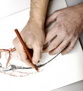 Drawning hands Royalty Free Stock Photos