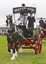 Dray horse newbury uk september the still working vintage horses and cart display passes around the main arena at the berks county Royalty Free Stock Photography