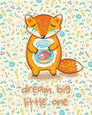 Dream big little one. Cute card with fox and fish Royalty Free Stock Photo