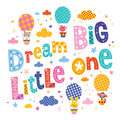 Dream big little one kids nursery art with cute baby animal characters Royalty Free Stock Image