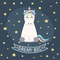 Dream Big poster, greeting card with cute unicorn