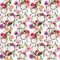 Dream catcher, flowers, feathers. Seamless pattern. Watercolor Royalty Free Stock Photo
