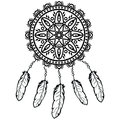 Dream catcher graphic in black and white decorated with feathers and beads giving its owner good dreams in mandala style