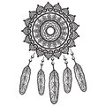 Dream catcher graphic in black and white mandala style decorated with feather, beads and ornaments giving its owner good dreams in Royalty Free Stock Photo
