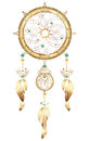 Dream catcher jewelry with feathers. Fantastic magic Dreamcatcher heart shaped colored metal and gold feathers and precious stones