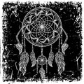 Dream catcher with ornament on grunge background. Tattoo art. Retro banner, card, scrap booking, t-shirt, bag, print, poster. Royalty Free Stock Photo