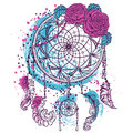 Dream catcher with ornament and roses. Tattoo art. Colorful hand drawn grunge style art. Royalty Free Stock Photo
