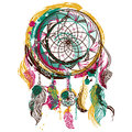 Dream catcher with ornament. Tattoo art. Hand drawn grunge style art. Royalty Free Stock Photo