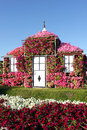 Dream house covered with flowers on display at miracle garden in dubai Royalty Free Stock Photo
