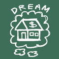 Dream house illustration of hand drawing on the blackboard Royalty Free Stock Photography
