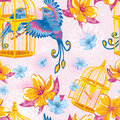 Dream seamless pattern with birds and golden cages Stock Images