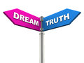 Dream or truth on road sign on white background concept of imagination and reality Stock Photography
