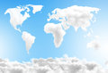 Dream world map made out of clouds over a blue sky Royalty Free Stock Images