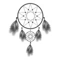 Dreamcatcher or dream catcher with feathers. Native American Indian talisman illustration isolated on white background. Royalty Free Stock Photo