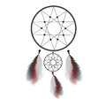 Dreamcatcher with feathers. Native American Indian talisman vector illustration Royalty Free Stock Photo