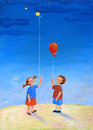 Dreamers born so a child is holding a balloon tied to the wire while a little girl is holding a star tied to a wire Stock Photo
