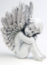 Dreaming angel on white background Royalty Free Stock Photos