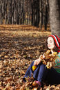 Dreaming in autumn forest Royalty Free Stock Photos
