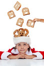 Dreaming of a better world at christmas time boy sharing food Royalty Free Stock Photo